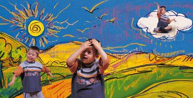 Imagen. Niños jugando en un paisaje dibujado.
